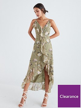 u-collection-forever-unique-floral-frill-maxi-dress-green