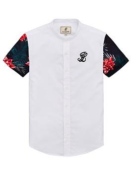 illusive-london-boys-contrast-sleeve-grandadnbspcollar-shirt-white