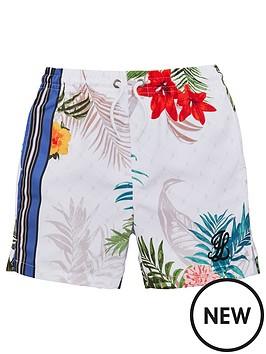 128bad5730a04 Illusive London Boys Botanical Swim Shorts - White | littlewoods.com