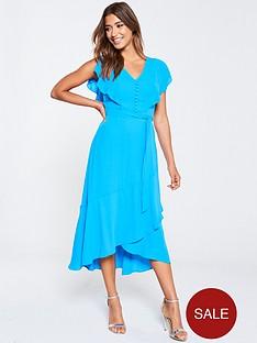 karen-millen-draped-tiered-midi-dress-blue