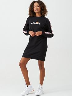 ellesse-exclusive-zia-tape-sweat-dress-black
