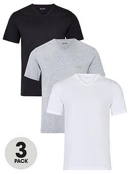 Boss   Bodywear Three Pack V-Neck T-Shirts - White/Black/Grey
