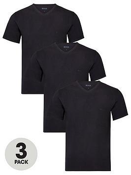 Boss   Bodywear 3 Pack V-Neck T-Shirts - Black