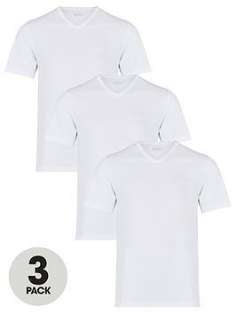 Boss   Bodywear Three Pack V-Neck T-Shirt - White
