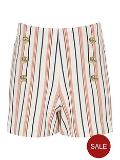 river-island-girls-coral-stripe-military-shorts