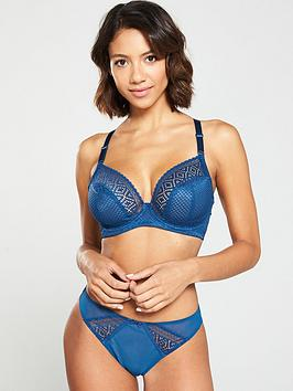 Cleo by Panache  Cleo By Panache Lace Panelled Brazillian Brief - Petrol