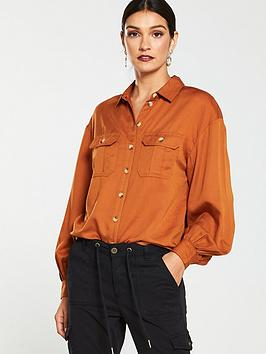 v-by-very-utility-puff-sleevenbspshirt-tobacco