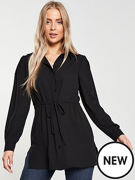 v-by-very-tie-waist-longline-shirt-black