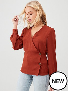 v-by-very-side-button-tie-back-blouse-tobacco