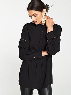 v-by-very-dropped-hem-button-up-blouse-black