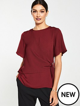 v-by-very-buckle-side-washed-linen-blouse-red