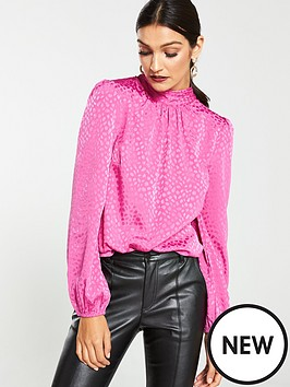 v-by-very-jacquardnbsptie-neck-shell-top-pink