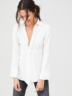 v-by-very-tie-front-formal-blouse-ivory