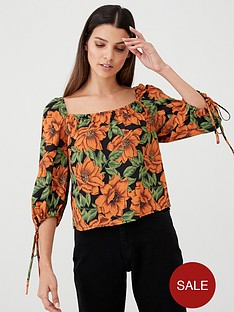 v-by-very-square-neck-print-blouse-floral