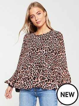 v-by-very-plisse-pleated-shell-top-animal-print
