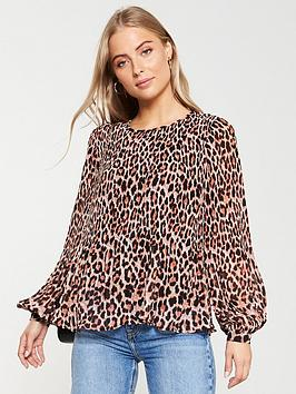 V by Very V By Very Plisse Pleated Shell Top - Animal Print Picture