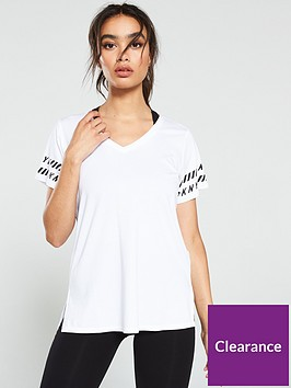 dkny-sport-finish-line-logo-v-neck-t-shirt-white