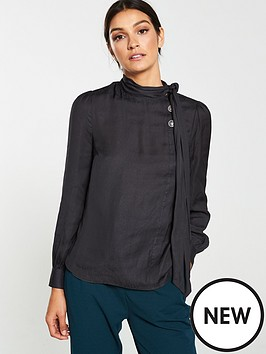 v-by-very-tie-neck-button-through-blouse-black