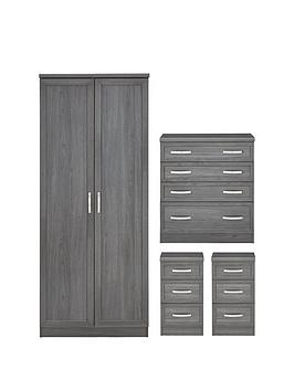 Very Camberley 4 Piece Package - 2 Door Wardrobe, 4 Drawer Chest And 2  ... Picture