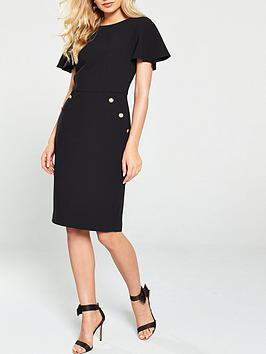 V by Very V By Very Button Detail Pencil Dress - Black Picture