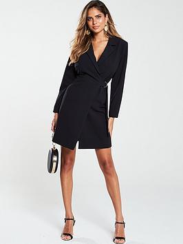 V by Very V By Very D Ring Side Tie Blazer Dress - Black Picture