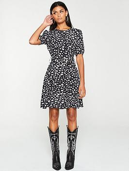V by Very V By Very Belted Ruched Sleeve Mini Dress - Print Picture