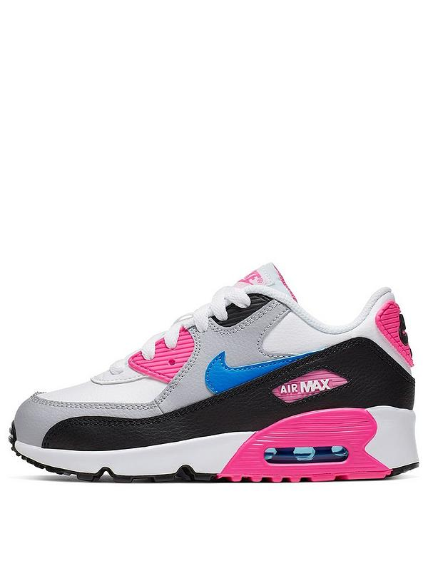 Nike Air Max 90 Leather Childrens Trainers WhiteBluePink