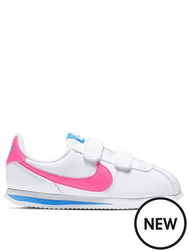 san francisco 347cf aab09 Cortez Basic Childrens Trainers - White/Pink