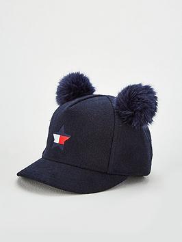 tommy-hilfiger-girls-pom-pom-cap-navy