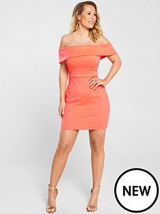 abbfedea1d Kate Wright Bardot Bodycon Mini Dress - Neon Pink