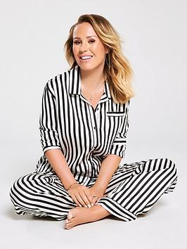kate-wright-4-piece-satin-pyjama-set-blackwhite