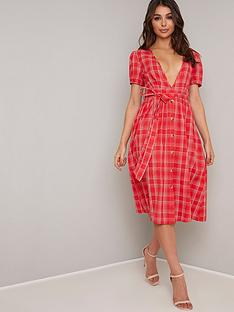 chi-chi-london-orliana-checkered-midi-dress-red