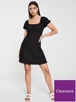 v-by-very-puff-sleeve-skater-dress-black