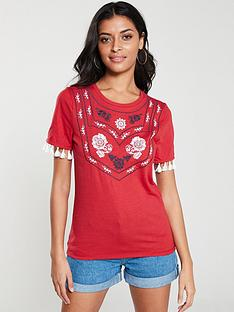 v-by-very-embroidered-tassel-tee-red