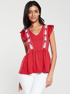 v-by-very-embroidered-peplum-top-red