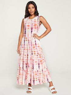 1a526a27ef V by Very Tie Dye Frill Jersey Midi Dress - Pink