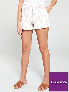 v-by-very-crinkle-belted-frill-shorts-white