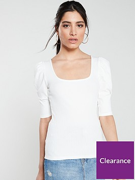 v-by-very-boat-neck-puff-sleeve-ribbed-top-white