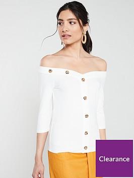 v-by-very-tiger-button-ribbednbspbardot-top-white