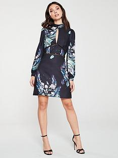 little-mistress-floral-long-sleeve-shift-dress-multi
