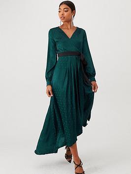 little-mistress-polka-dot-asymmetric-maxi-wrap-dress-green