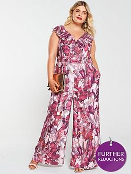 little-mistress-curve-floral-pleated-frill-jumpsuit-multi