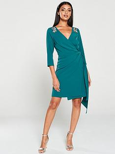 little-mistress-hand-embellished-mini-wrap-dress-green