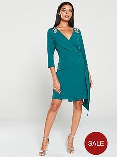 little-mistress-hand-embellished-mini-wrap-dress-green