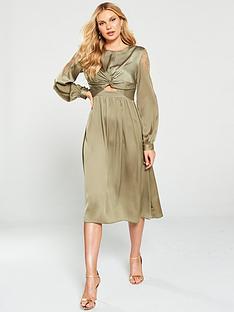 little-mistress-satin-and-lace-trim-midi-dress-khaki