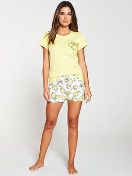v-by-very-lemon-slogan-short-pyjama-set-white-yellow