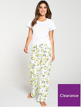v-by-very-lemon-slogan-short-sleeve-pyjama-set-white-yellow