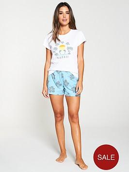 v-by-very-hawaii-destination-print-short-pyjama-set-white-blue