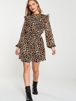 V by Very V By Very Leopard Shirred Yoke Tea Dress - Print Picture