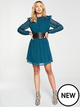 v-by-very-shirred-yoke-tea-dress-green